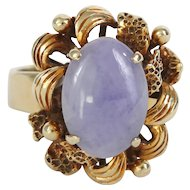 Lavender Jade Ring in Heavy 14k Yellow Gold Flower Setting