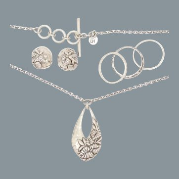 Sterling Silver Earrings, Rings & Necklace Set Lois Hill for Tommy Bahama Island Tropical Jewelry