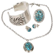 Lois Hill for Tommy Bahama Sterling Silver & Turquoise Earrings, Ring, Cuff Bracelet, & Necklace Set