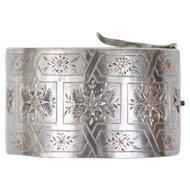 Exquisite Antique Victorian Sterling Silver & Gold Bangle Bracelet