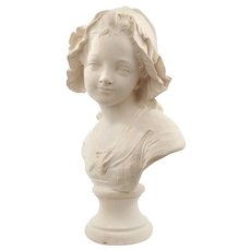 French Plaster Bust Signed Paris, Grinam Niam