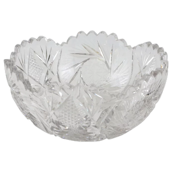 American Brilliant Cut Glass Bowl Centerpiece