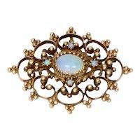 Antique 14k Gold & Opal Victorian Pendant/Brooch-Pin