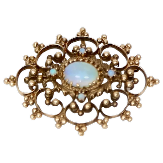 Antique 14k Gold & Opal Victorian Pendant/Brooch-Pin