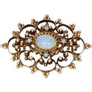 Victorian Opal & 14k Gold Pendant/Brooch-Pin