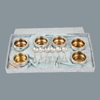 Webster Individual Sterling Silver Salts & Spoons Original Fitted Box Early 20th Century Gold Wash