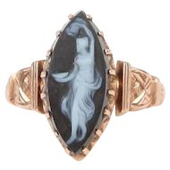 14k Gold Hard-Stone Hand-Carved Cameo Ring in 14k Rose Gold