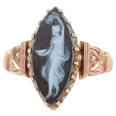 Hard-Stone Hand-Carved Cameo Ring in 14k Rose Gold