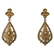 Victorian Style 14k Yellow Gold & Diamond Drop Earrings
