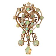 Opal & Diamond Pendant/Brooch-Pin in 14k Yellow Gold Swirl Design with Opal Drop