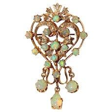 Opal & Diamond Pendant/Brooch-Pin in 14k Yellow Gold Swirl Design with Opal Drop