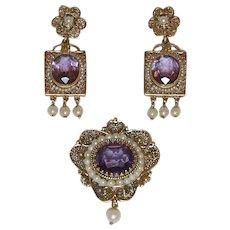 Amethyst & Pearl Victorian Style Filigree 14k Gold Earrings & Pendant/Brooch