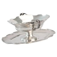 Art Nouveau Pierced Handle .800 Silver Sauce Boat
