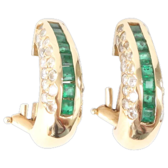 Emerald & Diamond, 14K yellow Gold Earrings with Omega Backs Channel Set Emeralds