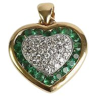Emerald & Diamond, 18K Yellow Gold Heart Pendant Channel Set Emeralds Pierced Back