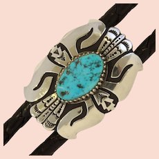 Thomas (Tommy) Singer Sterling Silver Sleeping Beauty Turquoise Hand Crafted Navajo Vintage Bolo Tie