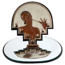 "Erté Bronze Sculpture,  Erté ""Vanity"" Table Mirror Cold Painted Bronze Art Sculpture, Art Deco Bronze"