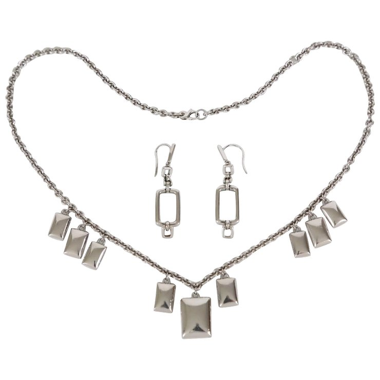 Movado Sterling Silver Necklace Earrings Set Vintage Boutique Jewelry