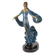 """Erte Bronze Sculpture, Erté """"Ecstasy"""" Cold Painted Bronze Art Sculpture, Art Deco Bronze"""