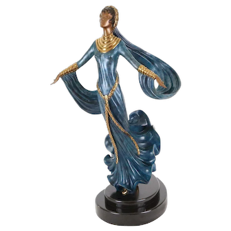 "Erte Bronze Sculpture, Erté ""Ecstasy"" Cold Painted Bronze Art Sculpture, Art Deco Bronze ERTE"