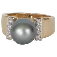 Black Tahitian Pearl Gold & Diamond Ring, Vintage 14k Yellow Gold Ring