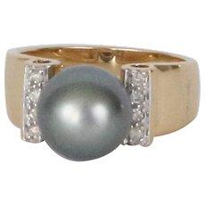 Black Tahitian Pearl Gold & Diamond Ring, Vintage 14k Yellow Gold Ring