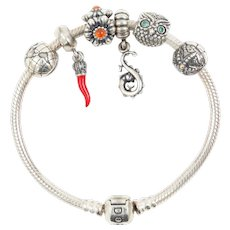 Pandora Sterling Silver Bracelet with Six Sterling Silver Charms