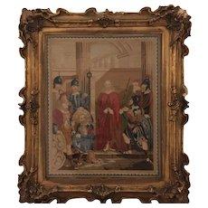 19th Century English needlepoint picture circa 1840s religious scene