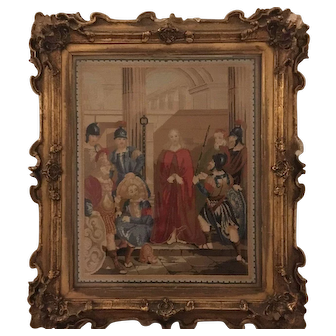 19th Century English needlepoint picture circa 1840s religious scene