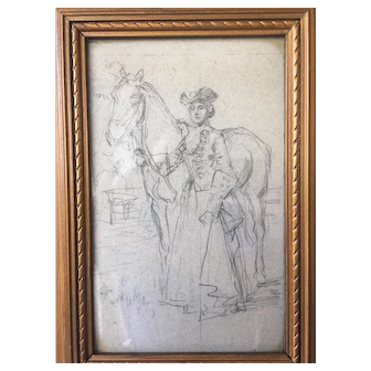 19th C gilt framed pencil illustration of a Regal lady with horse