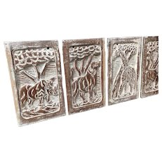 19th Century Carved Wooden Plaques of Zoo Animals