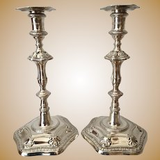 A Stunning Pair of George lll Cast Silver Candlesticks London 1766