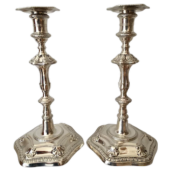 A Pair of George lll Silver Candlesticks