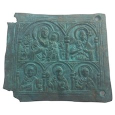 17th Century Bronze Plaque with Mary Theotokos and infant Jesus religious