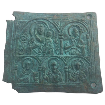 17th Century Bronze Plaque with Mary Theotokos and infant Jesus