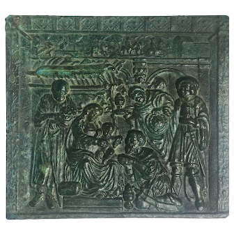 Early 17th century AD Square Bronze Plaque with low-relief scene of the 'Adoration of the Magi'
