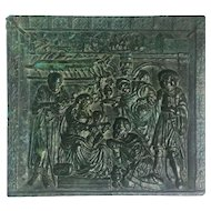 Early 17th century Square Bronze Plaque 'Adoration of the Magi' religious