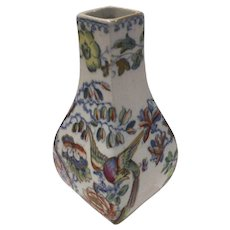 A Lovely Small Masons 19th Century Vase, Decorated with Birds and Flowers