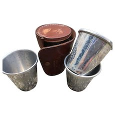 Set of Four 19th Century Stacking Hunting Stirrup Cups in Leather Case