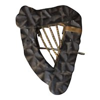 19th Century Irish carved bog oak brooch from Ireland
