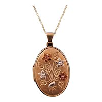 Very Elegant Yellow, White and Rose Metal Oval Picture Locket
