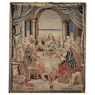 Early Victorian Needlework Picture of the Last Supper