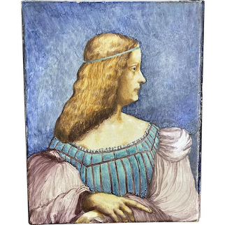Antique French Tile of Girl