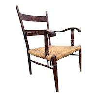 Antique Rush Seat Armchair