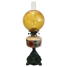 A Victorian Opaque Amber Glass Oil Lamp