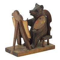 Vintage Novelty Miniature Black Forest Carved Wooden Bear Seated at an Easel