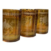 Three 19th Century Bohemian Etched Amber Glass Beakers