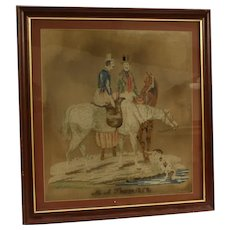 A 19th century Berlin woolwork picture, depicting a male and a female on horseback.