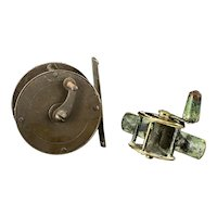Two Antique Brass Fishing Reels