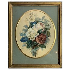 19th Century Watercolour Bunch of Flowers